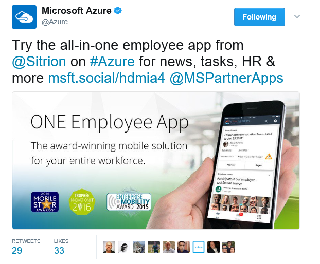 Microsoft Azure tweets about Sitrion ONE